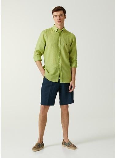 Etro Etro  Düğmeli Yaka Keten Gömlek 101617704 Yeşil